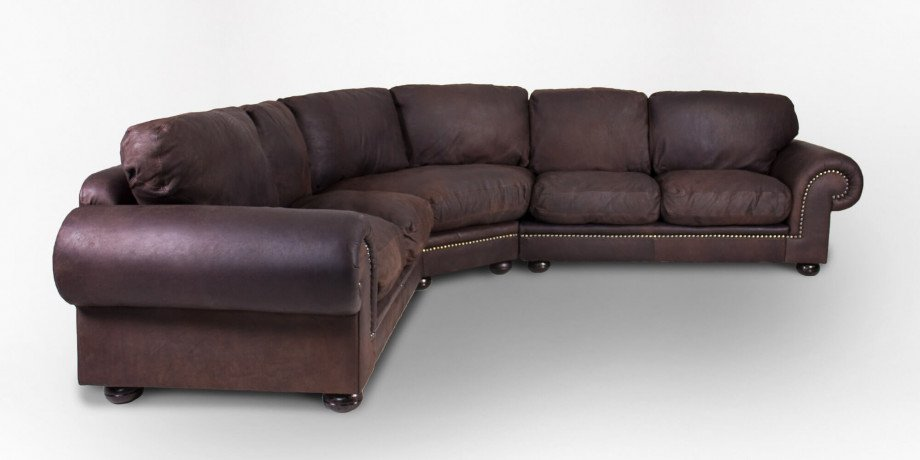 Afrique Leather Corner Couch, With Studs