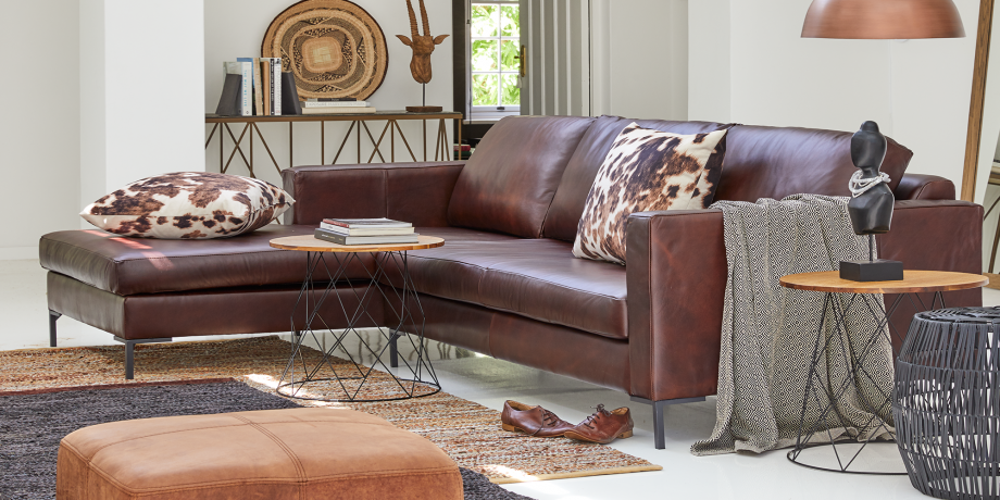 Sami Leather Couch, Left Slouch