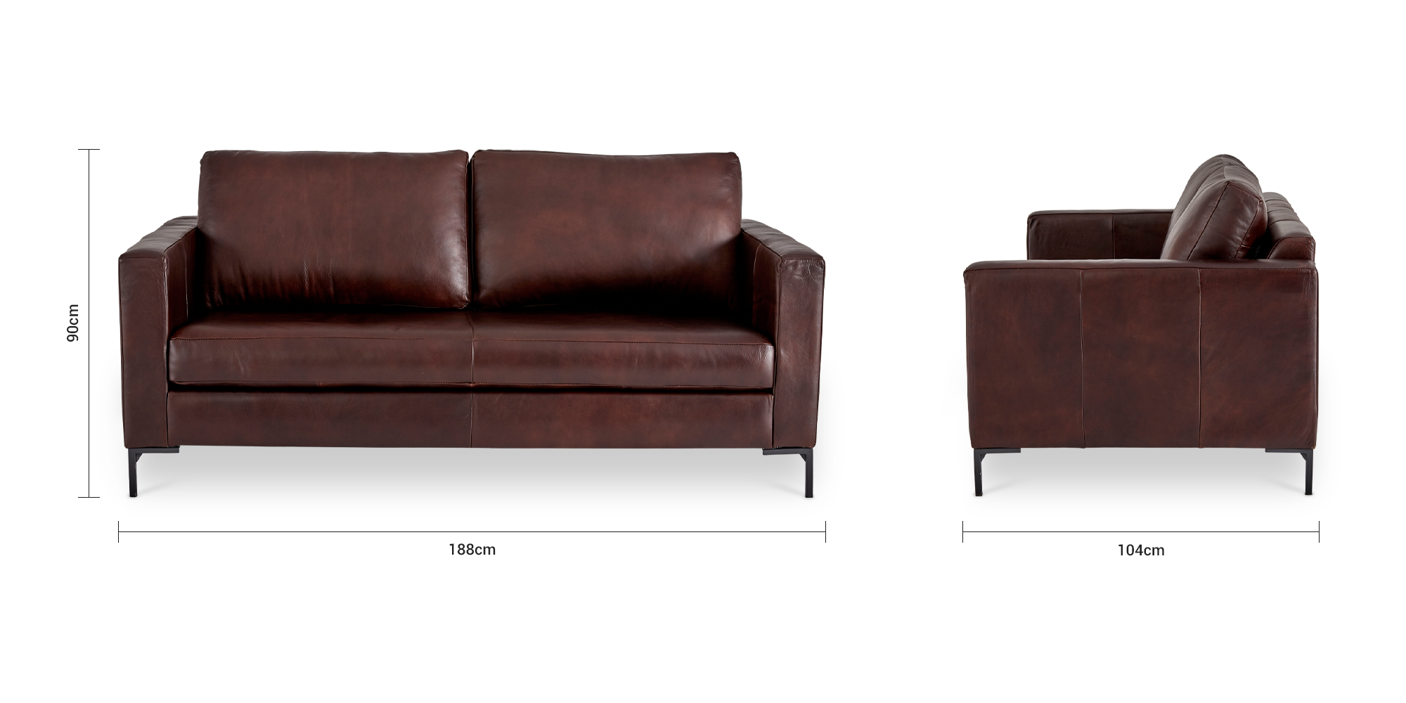 Sami Leather 2 Seater Couch (Metal Leg)